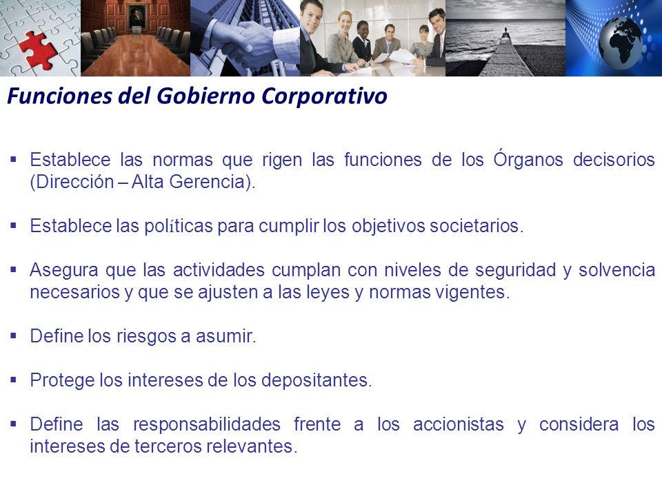 Funciones del Gobierno Corporativo Establece las normas que rigen las funciones de los Órganos decisorios (Dirección – Alta Gerencia).