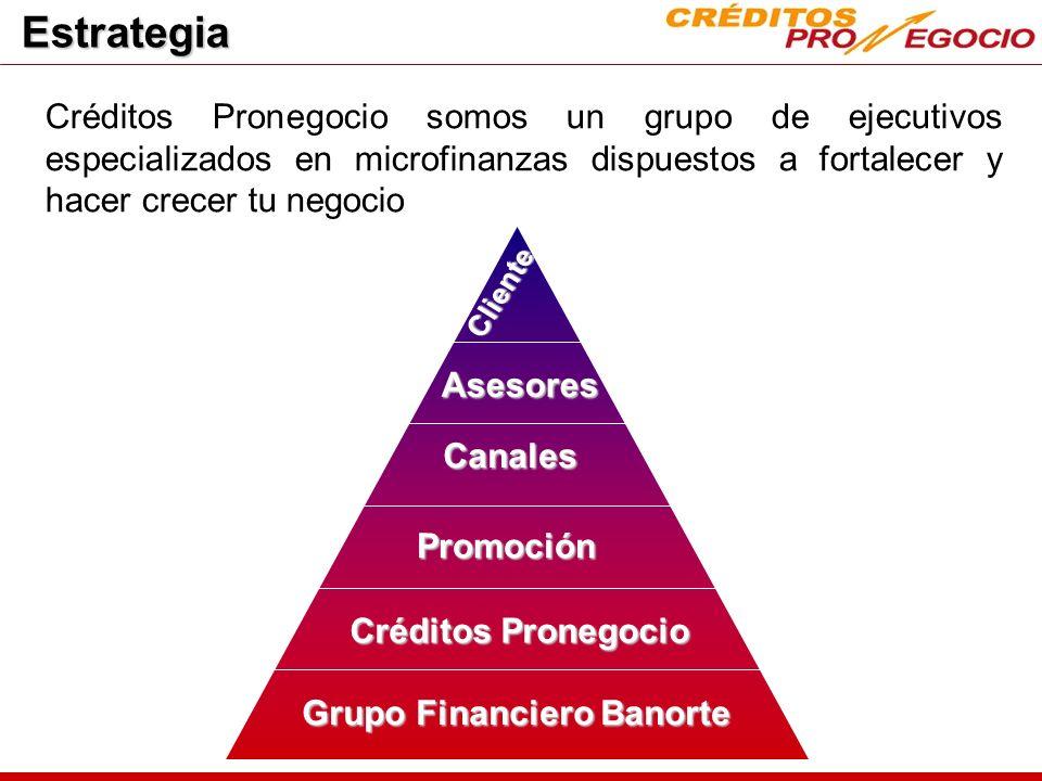 Cruce de productos Inicialmente la oferta de productos debe ajustarse a las características de las microfinanzas, al evolucionar el cliente tendrá la posibilidad de acceder a toda la gama de productos financieros del Banco.