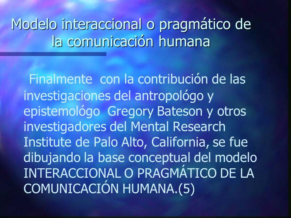 Modelo interaccional o pragmático de la comunicación humana Finalmente con la contribución de las investigaciones del antropológo y epistemológo Grego