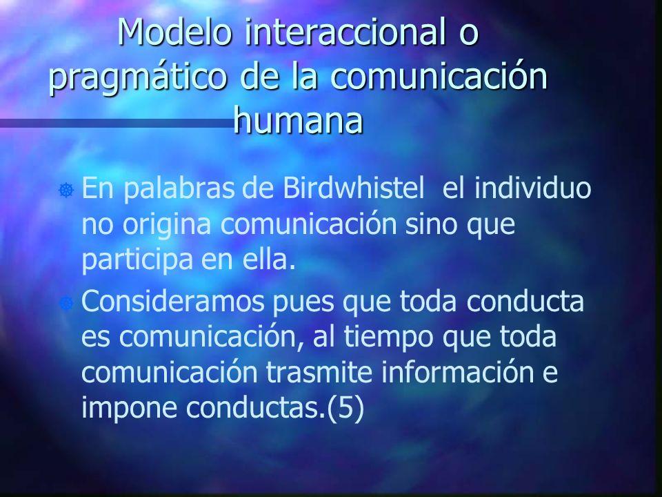 Modelo interaccional o pragmático de la comunicación humana ] ] En palabras de Birdwhistel el individuo no origina comunicación sino que participa en
