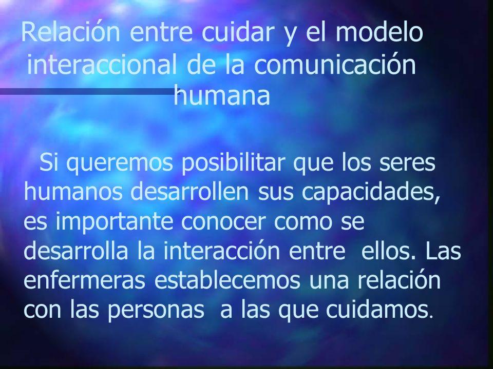 Relación entre cuidar y el modelo interaccional de la comunicación humana Si queremos posibilitar que los seres humanos desarrollen sus capacidades, e