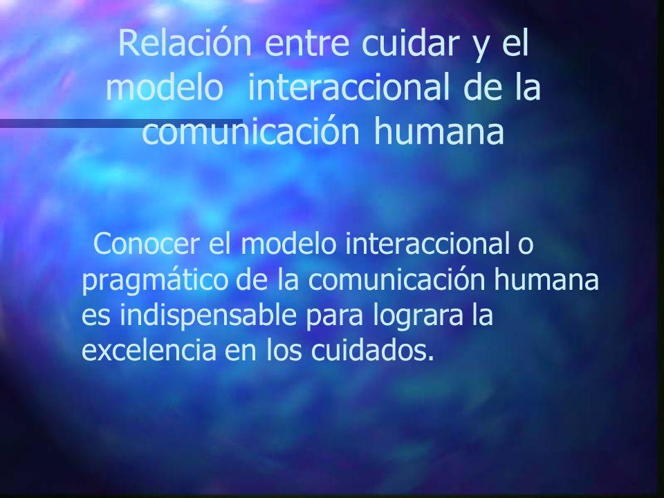 Relación entre cuidar y el modelo interaccional de la comunicación humana Conocer el modelo interaccional o pragmático de la comunicación humana es in