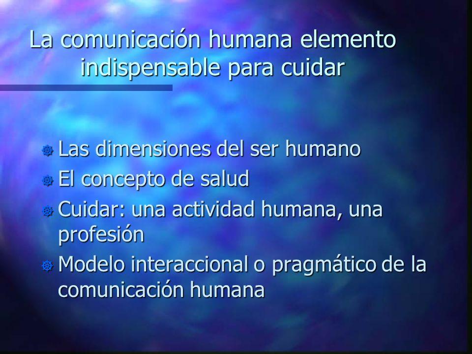 La comunicación humana elemento indispensable para cuidar ] Las dimensiones del ser humano ] El concepto de salud ] Cuidar: una actividad humana, una