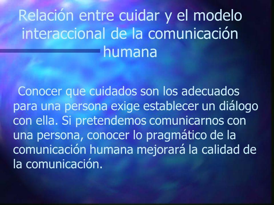 Relación entre cuidar y el modelo interaccional de la comunicación humana Conocer que cuidados son los adecuados para una persona exige establecer un