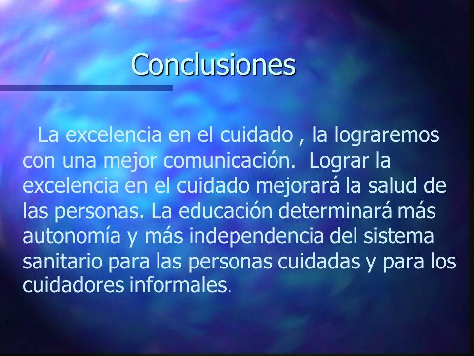 Conclusiones La excelencia en el cuidado, la lograremos con una mejor comunicación. Lograr la excelencia en el cuidado mejorará la salud de las person