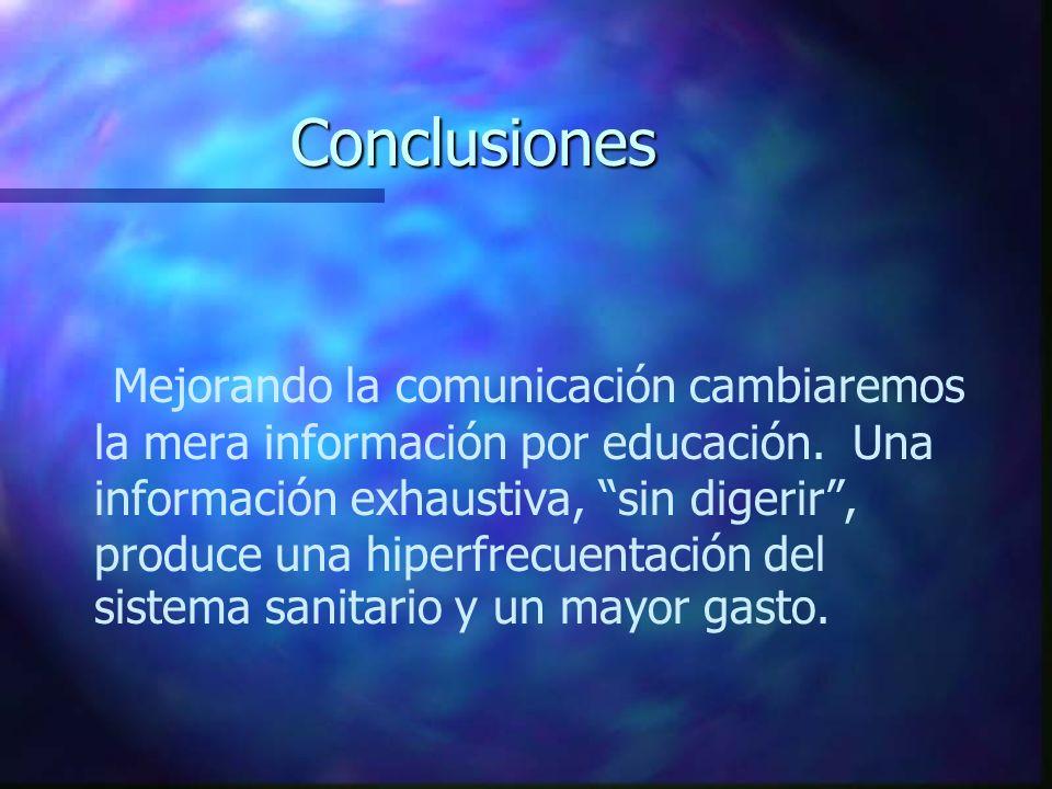 Conclusiones Mejorando la comunicación cambiaremos la mera información por educación. Una información exhaustiva, sin digerir, produce una hiperfrecue