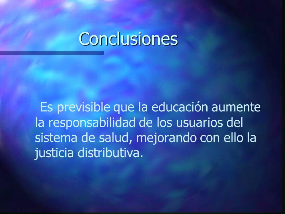 Conclusiones Es previsible que la educación aumente la responsabilidad de los usuarios del sistema de salud, mejorando con ello la justicia distributi