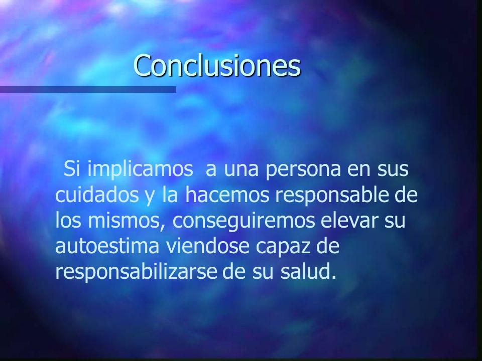 Conclusiones Si implicamos a una persona en sus cuidados y la hacemos responsable de los mismos, conseguiremos elevar su autoestima viendose capaz de
