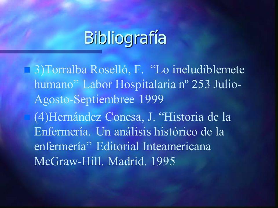 Bibliografía n n 3)Torralba Roselló, F. Lo ineludiblemete humano Labor Hospitalaria nº 253 Julio- Agosto-Septiembree 1999 n n (4)Hernández Conesa, J.
