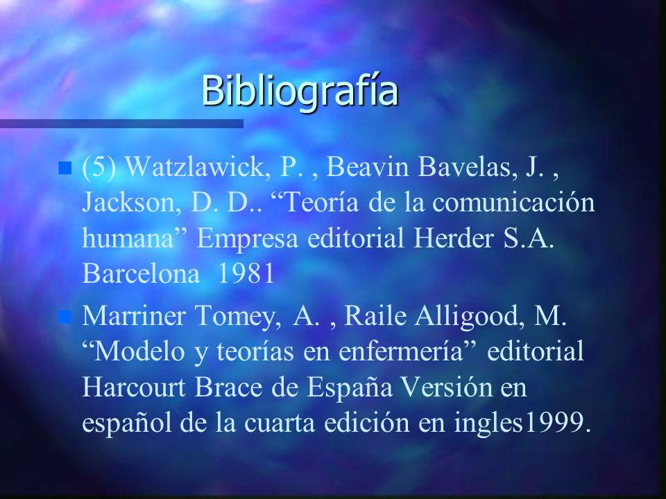 Bibliografía n n (5) Watzlawick, P., Beavin Bavelas, J., Jackson, D. D.. Teoría de la comunicación humana Empresa editorial Herder S.A. Barcelona 1981