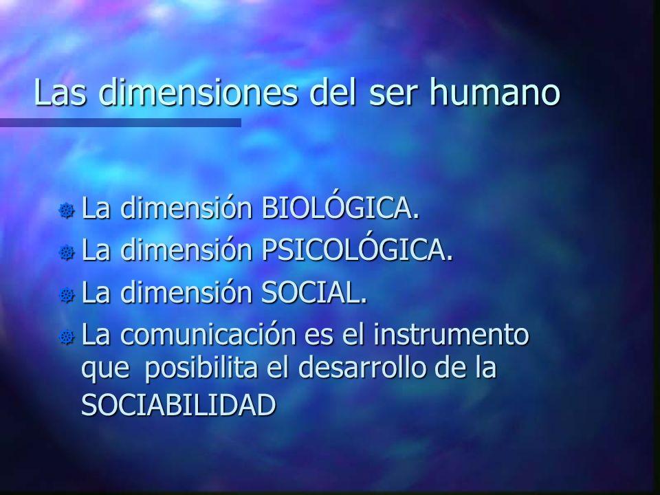 Las dimensiones del ser humano ] La dimensión BIOLÓGICA. ] La dimensión PSICOLÓGICA. ] La dimensión SOCIAL. La comunicación es el instrumento queposib