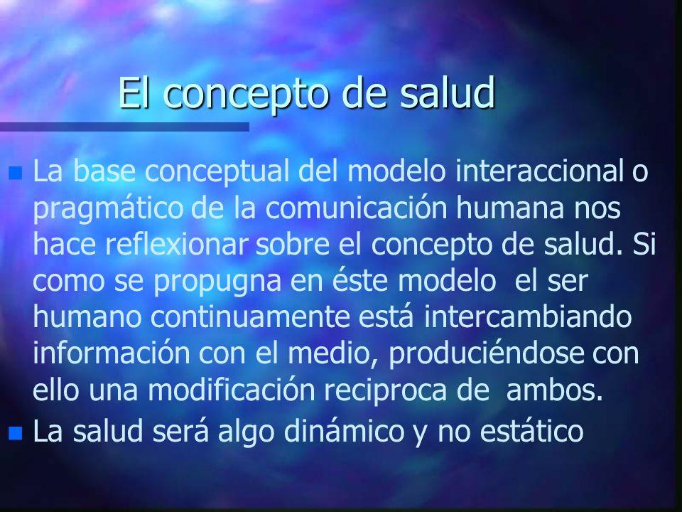 El concepto de salud n n La base conceptual del modelo interaccional o pragmático de la comunicación humana nos hace reflexionar sobre el concepto de
