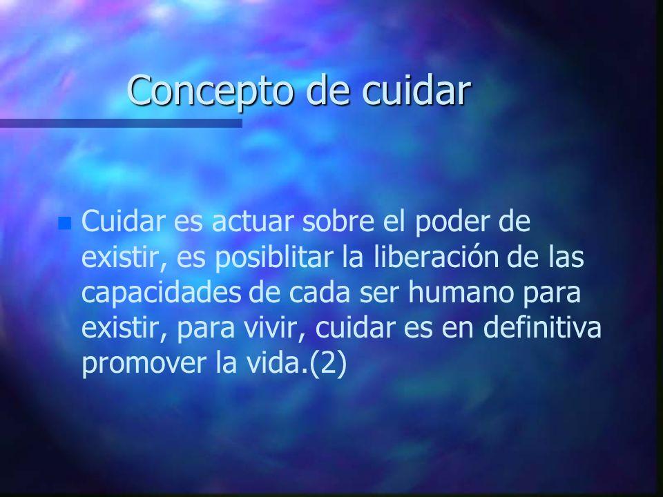 Concepto de cuidar n n Cuidar es actuar sobre el poder de existir, es posiblitar la liberación de las capacidades de cada ser humano para existir, par
