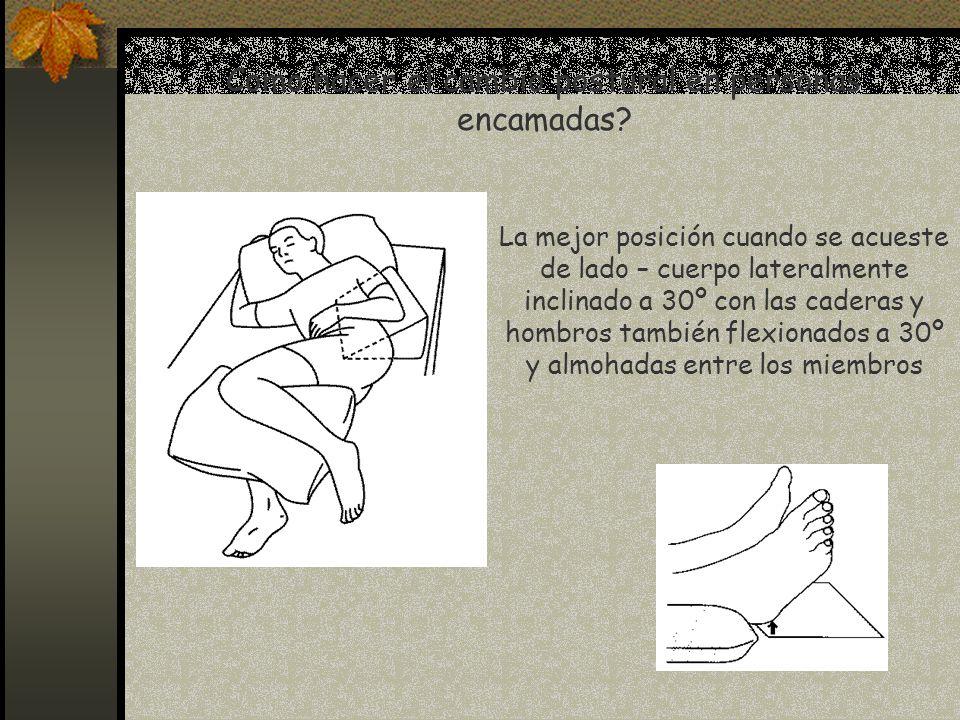 Como hacer el cambio postural en personas encamadas? La mejor posición cuando se acueste de lado – cuerpo lateralmente inclinado a 30º con las caderas