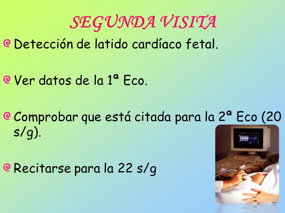 SEGUNDA VISITA Detección de latido cardíaco fetal. Ver datos de la 1ª Eco. Comprobar que está citada para la 2ª Eco (20 s/g). Recitarse para la 22 s/g