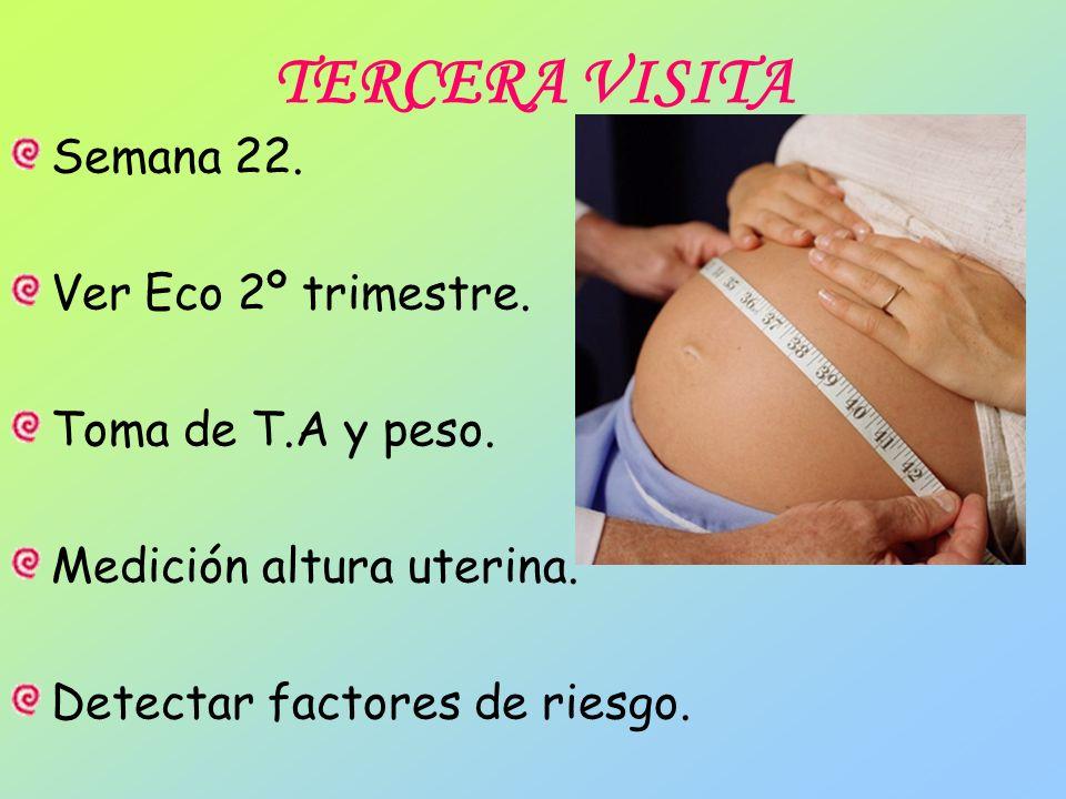 TERCERA VISITA Semana 22. Ver Eco 2º trimestre. Toma de T.A y peso. Medición altura uterina. Detectar factores de riesgo.