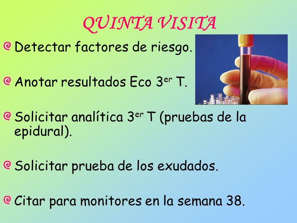 QUINTA VISITA Detectar factores de riesgo. Anotar resultados Eco 3 er T. Solicitar analítica 3 er T (pruebas de la epidural). Solicitar prueba de los