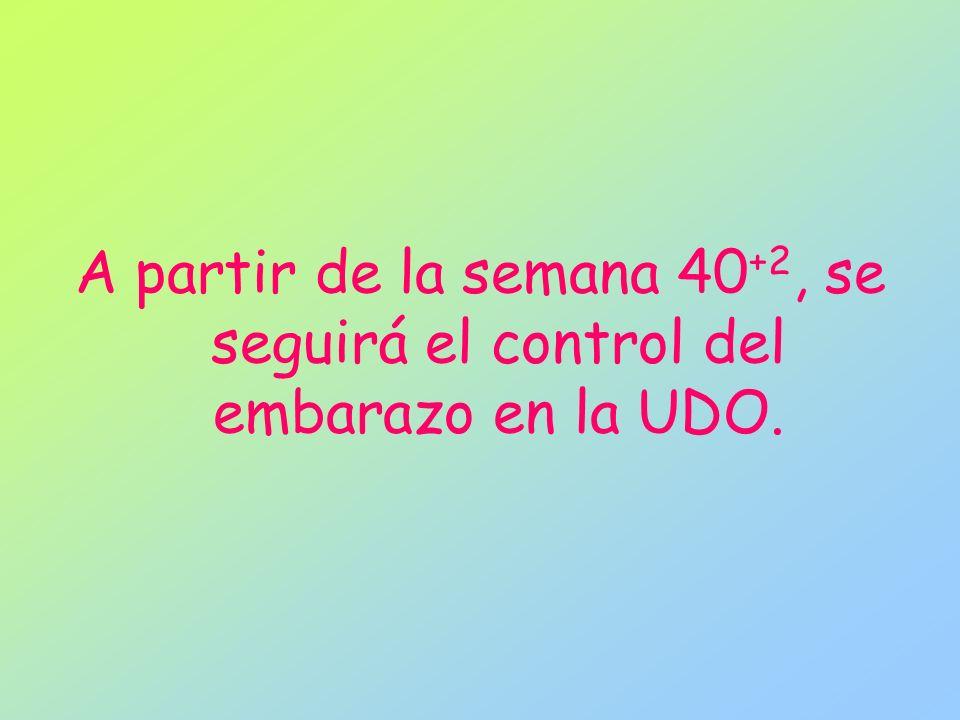 A partir de la semana 40 +2, se seguirá el control del embarazo en la UDO.