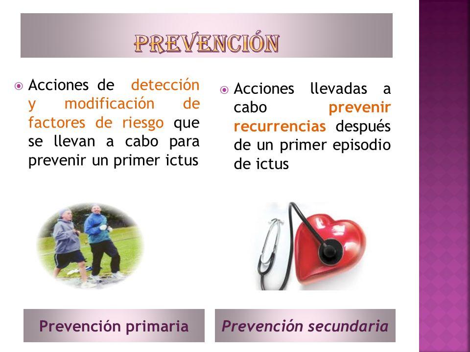 Prevención primariaPrevención secundaria Acciones de detección y modificación de factores de riesgo que se llevan a cabo para prevenir un primer ictus