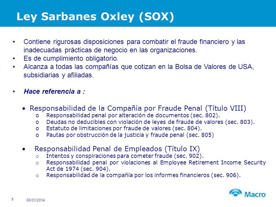 06/01/2014 26 Limitaciones del Control Interno Un buen sistema no garantiza eliminar el fraude Alguien que es malo, no se convierte en bueno.