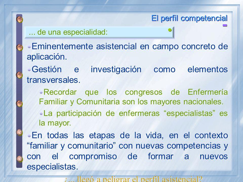 ... de una especialidad: El perfil competencial Eminentemente asistencial en campo concreto de aplicación. Gestión e investigación como elementos tran