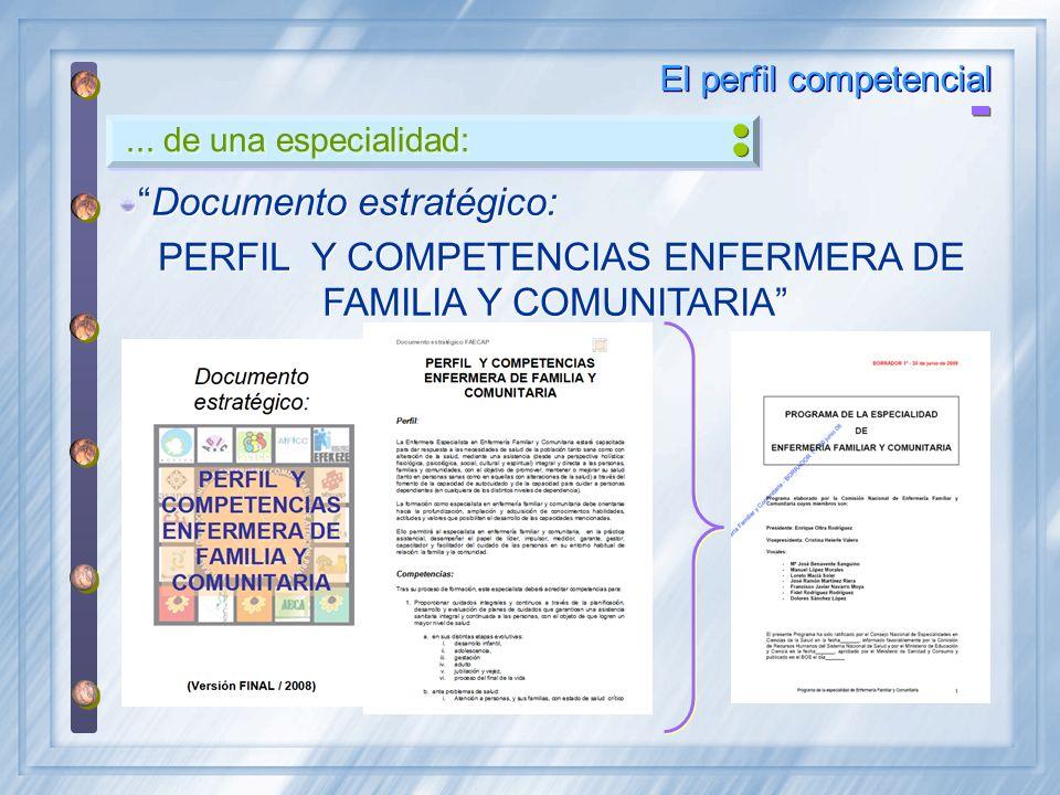... de una especialidad: El perfil competencial Documento estratégico: PERFIL Y COMPETENCIAS ENFERMERA DE FAMILIA Y COMUNITARIA Documento estratégico: