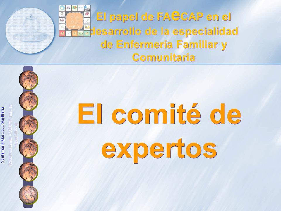 El comité de expertos El papel de FA e CAP en el desarrollo de la especialidad de Enfermería Familiar y Comunitaria Santamaría García, José María (Vic