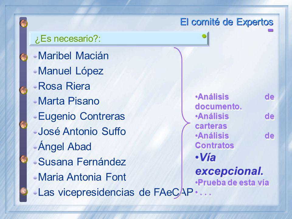 ¿Es necesario?: El comité de Expertos Maribel Macián Manuel López Rosa Riera Marta Pisano Eugenio Contreras José Antonio Suffo Ángel Abad Susana Ferná