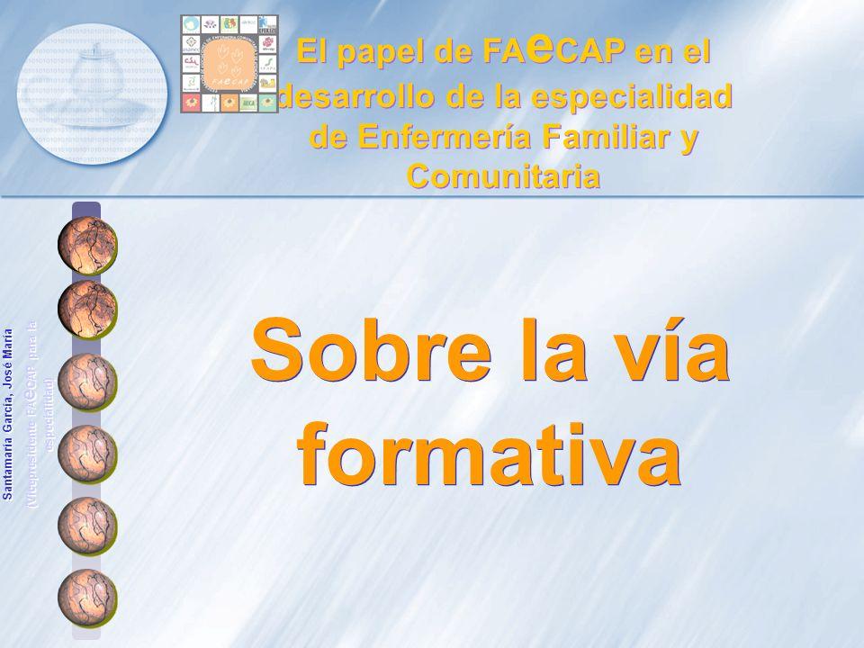 Sobre la vía formativa El papel de FA e CAP en el desarrollo de la especialidad de Enfermería Familiar y Comunitaria Santamaría García, José María (Vi