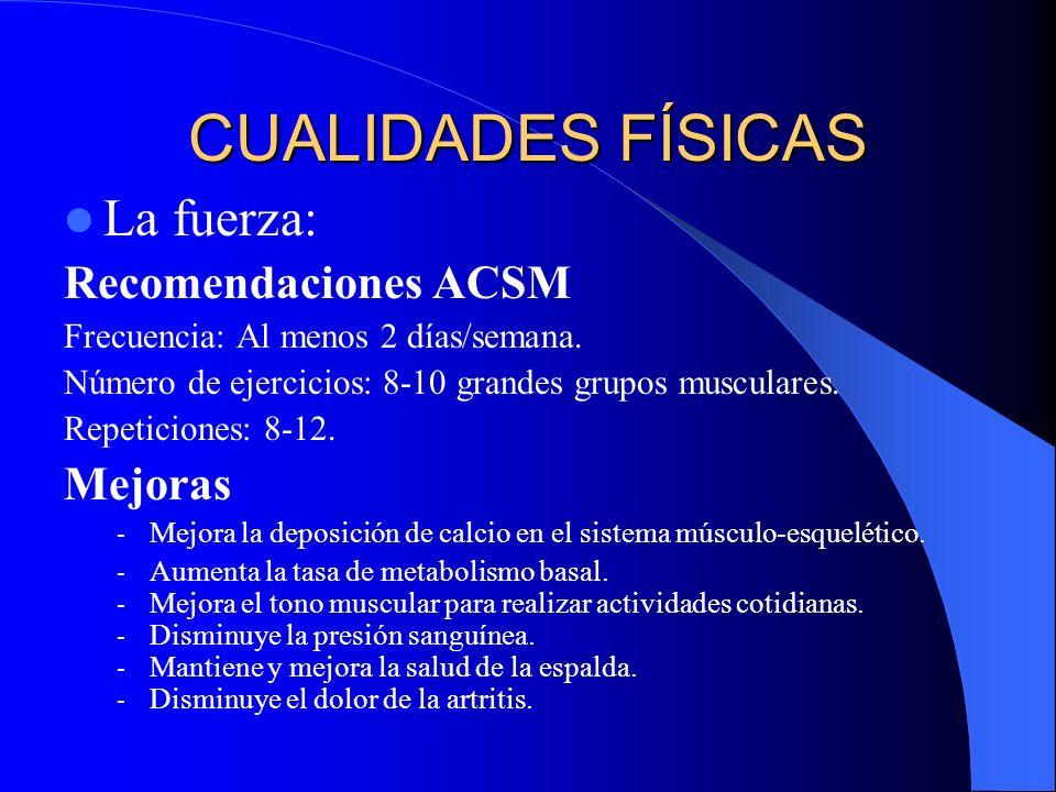 CUALIDADES FÍSICAS La fuerza: Recomendaciones ACSM Frecuencia: Al menos 2 días/semana. Número de ejercicios: 8-10 grandes grupos musculares. Repeticio