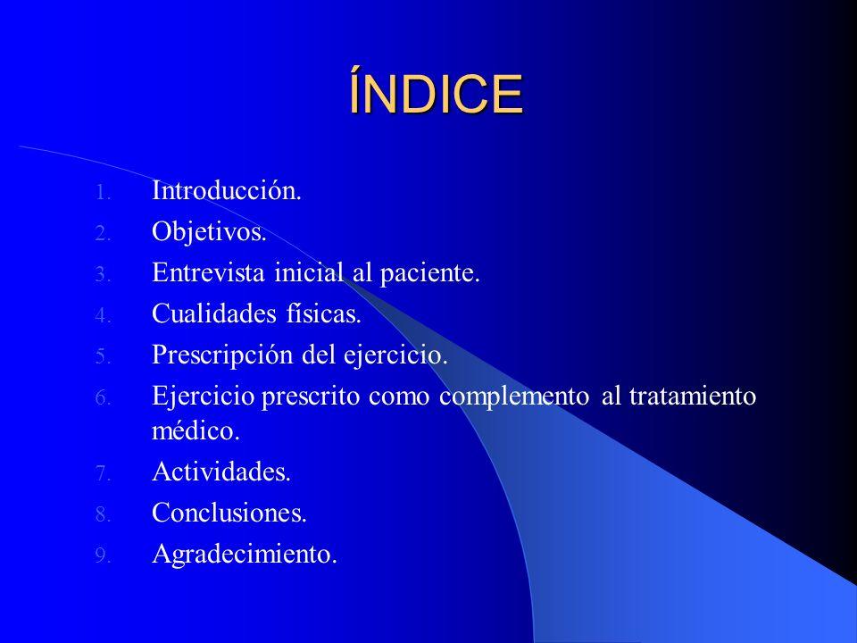 ÍNDICE 1. Introducción. 2. Objetivos. 3. Entrevista inicial al paciente. 4. Cualidades físicas. 5. Prescripción del ejercicio. 6. Ejercicio prescrito