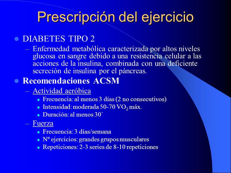 Prescripción del ejercicio DIABETES TIPO 2 – Enfermedad metabólica caracterizada por altos niveles glucosa en sangre debido a una resistencia celular