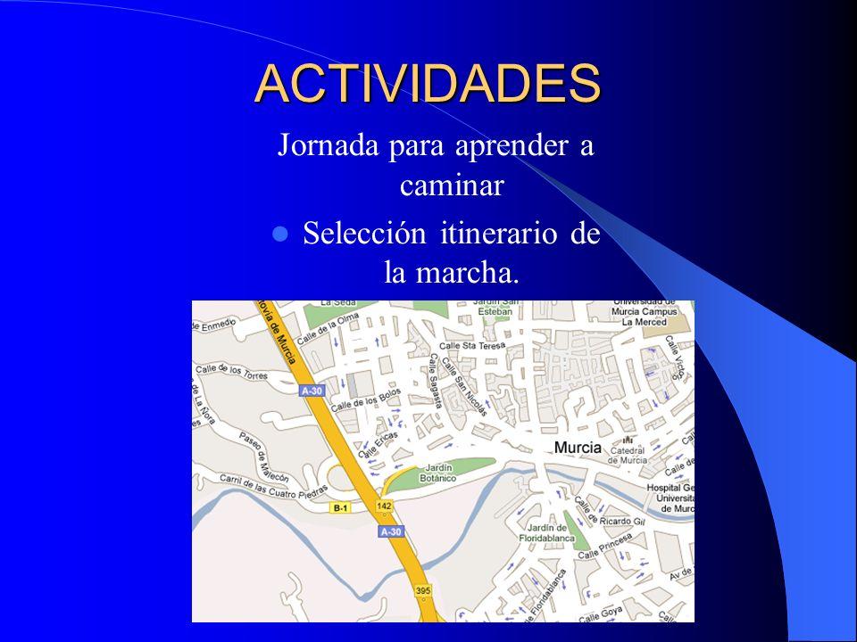 ACTIVIDADES Jornada para aprender a caminar Selección itinerario de la marcha.