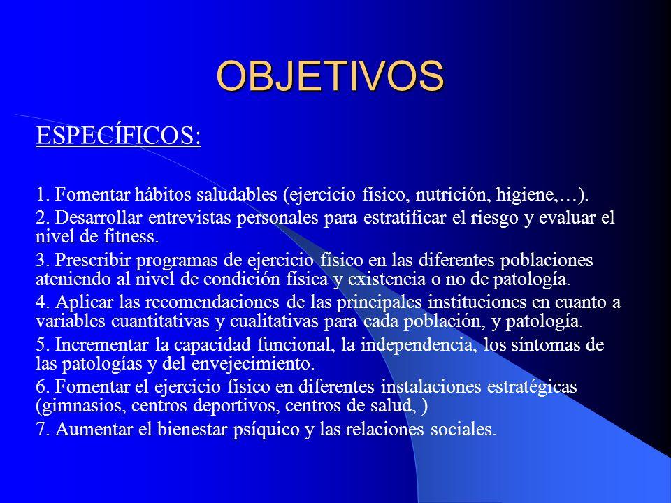 OBJETIVOS ESPECÍFICOS: 1. Fomentar hábitos saludables (ejercicio físico, nutrición, higiene,…). 2. Desarrollar entrevistas personales para estratifica