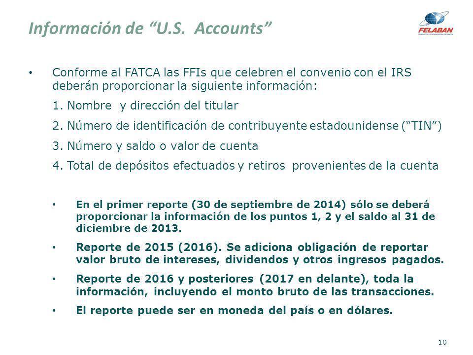 Información de U.S. Accounts Conforme al FATCA las FFIs que celebren el convenio con el IRS deberán proporcionar la siguiente información: 1. Nombre y