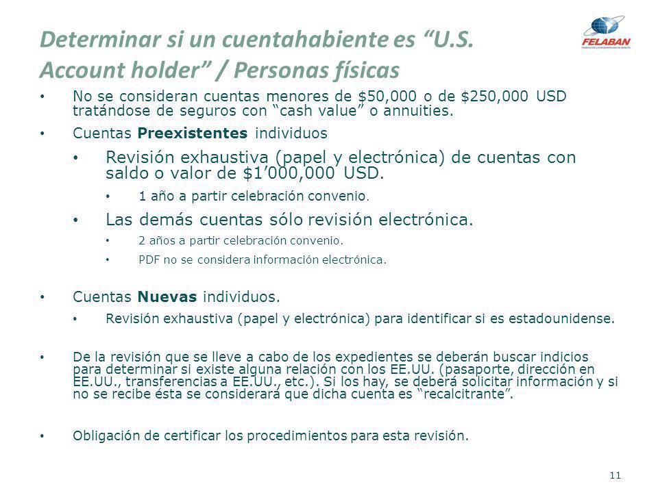 Determinar si un cuentahabiente es U.S. Account holder / Personas físicas No se consideran cuentas menores de $50,000 o de $250,000 USD tratándose de