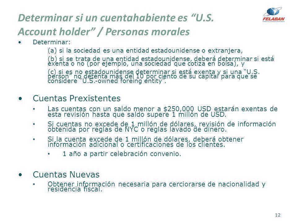 Determinar si un cuentahabiente es U.S. Account holder / Personas morales Determinar: (a) si la sociedad es una entidad estadounidense o extranjera, (