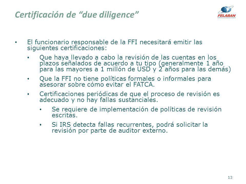 Certificación de due diligence El funcionario responsable de la FFI necesitará emitir las siguientes certificaciones: Que haya llevado a cabo la revis
