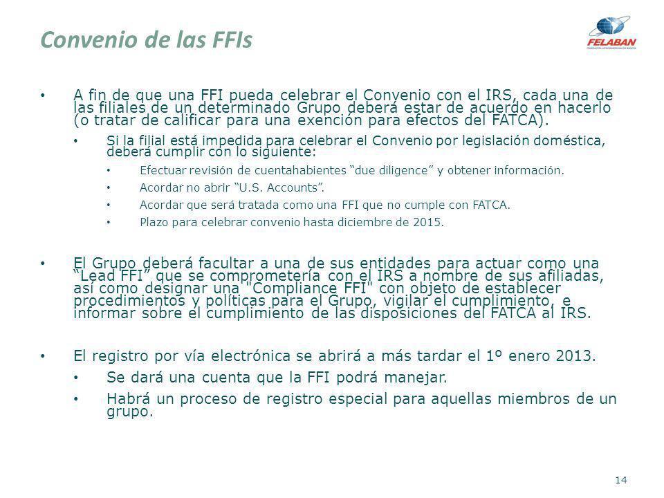 Convenio de las FFIs A fin de que una FFI pueda celebrar el Convenio con el IRS, cada una de las filiales de un determinado Grupo deberá estar de acue