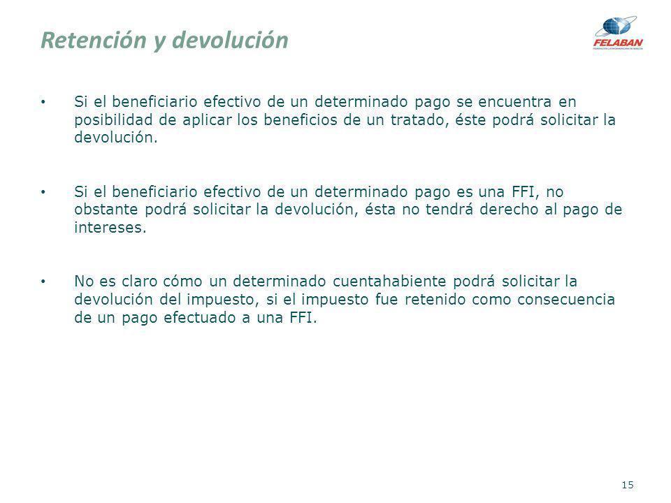 Retención y devolución Si el beneficiario efectivo de un determinado pago se encuentra en posibilidad de aplicar los beneficios de un tratado, éste po