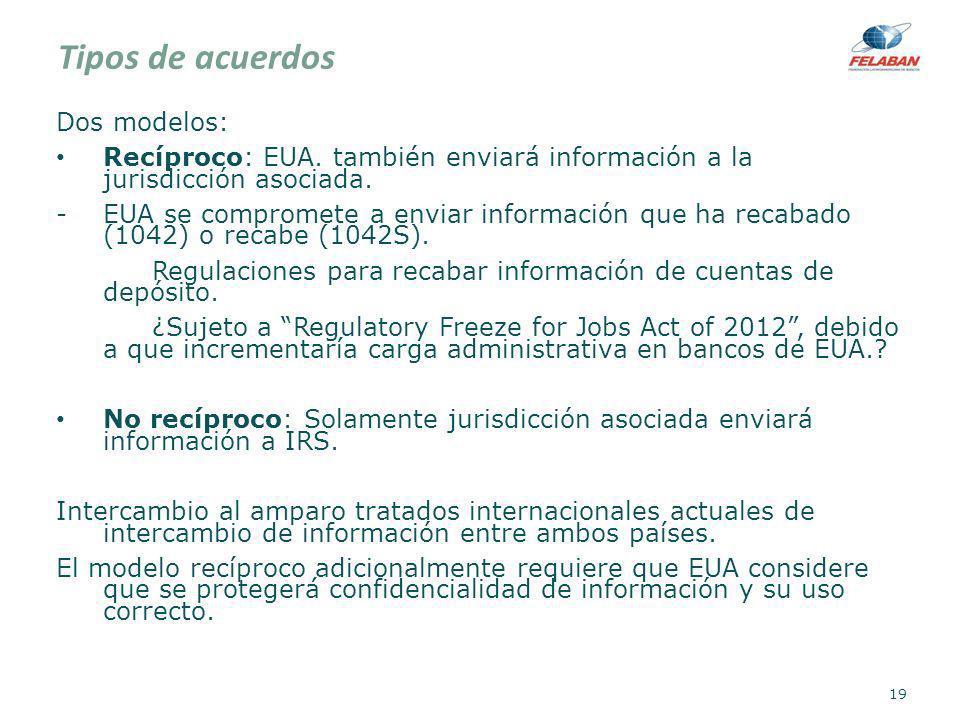 Tipos de acuerdos Dos modelos: Recíproco: EUA. también enviará información a la jurisdicción asociada. -EUA se compromete a enviar información que ha