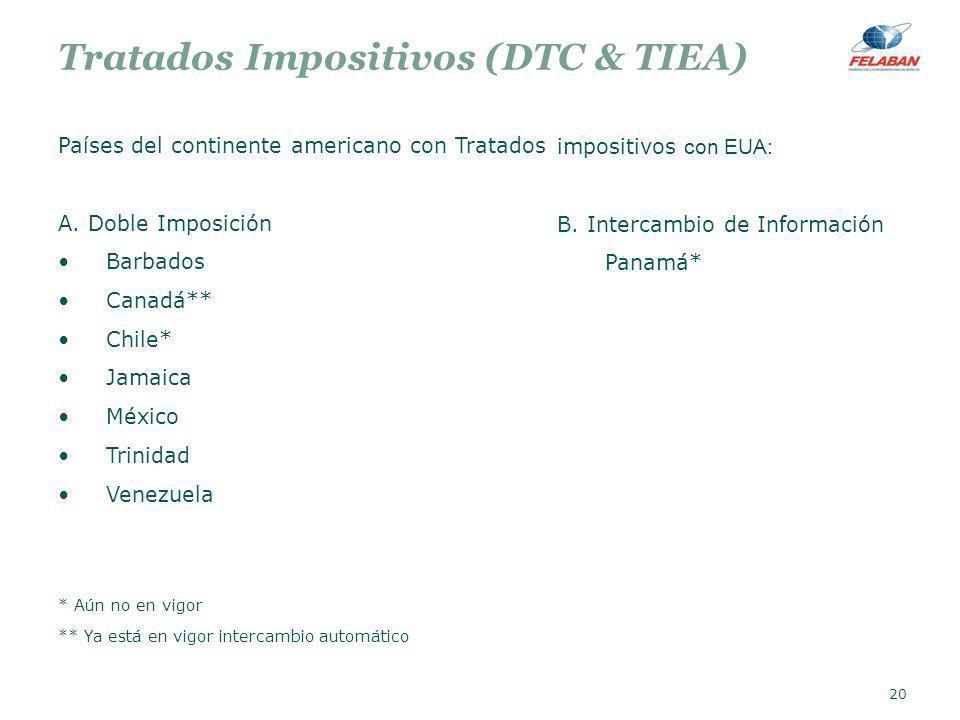 Tratados Impositivos (DTC & TIEA) Países del continente americano con Tratados A. Doble Imposición Barbados Canadá** Chile* Jamaica México Trinidad Ve