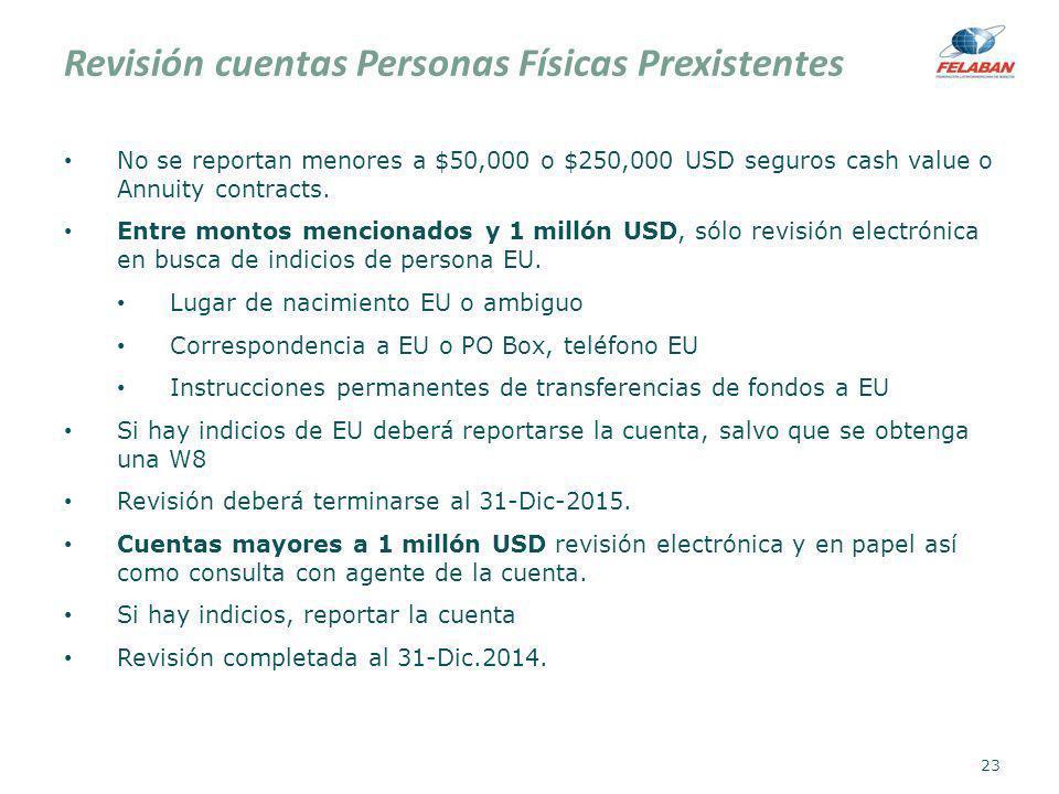 Revisión cuentas Personas Físicas Prexistentes No se reportan menores a $50,000 o $250,000 USD seguros cash value o Annuity contracts. Entre montos me