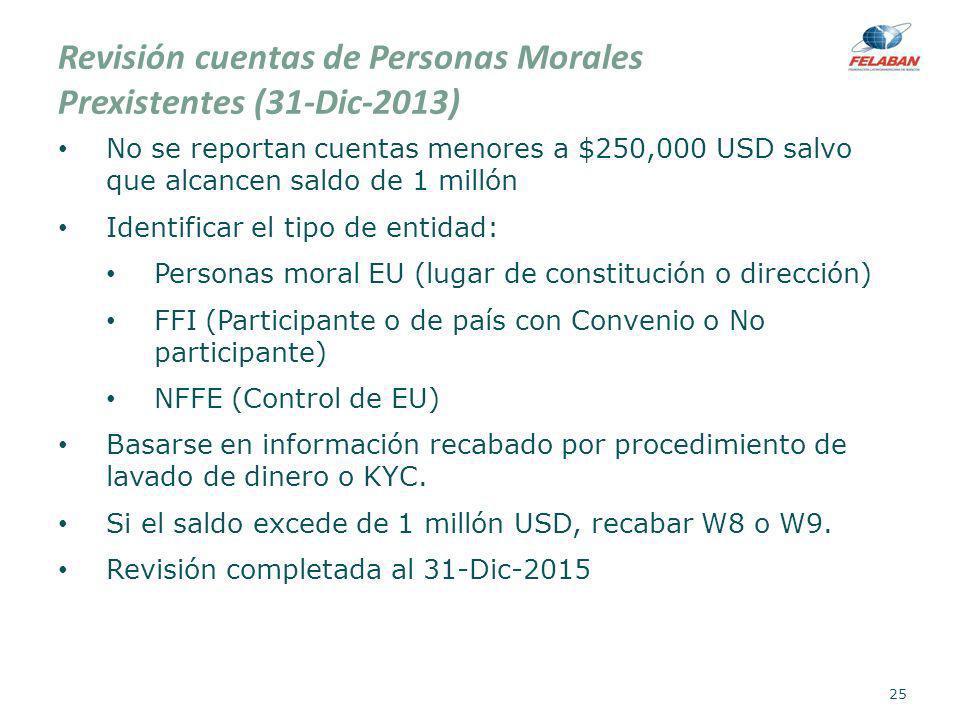 Revisión cuentas de Personas Morales Prexistentes (31-Dic-2013) No se reportan cuentas menores a $250,000 USD salvo que alcancen saldo de 1 millón Ide