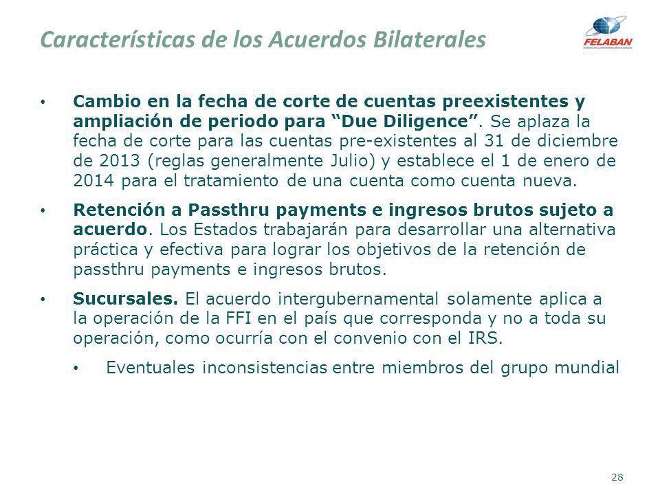 Características de los Acuerdos Bilaterales Cambio en la fecha de corte de cuentas preexistentes y ampliación de periodo para Due Diligence. Se aplaza