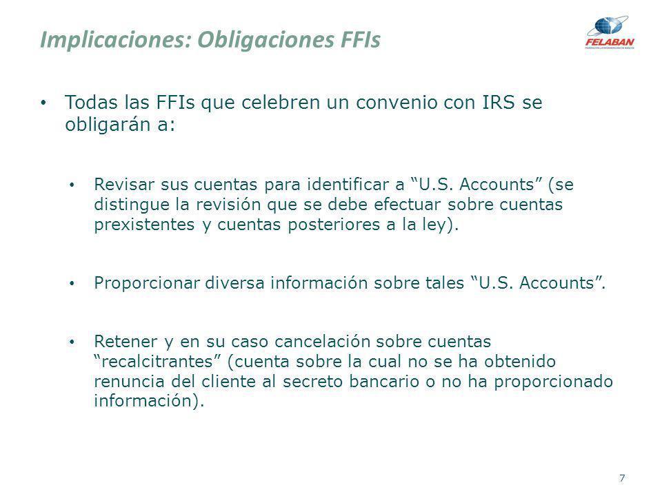 Implicaciones: Obligaciones FFIs Todas las FFIs que celebren un convenio con IRS se obligarán a: Revisar sus cuentas para identificar a U.S. Accounts