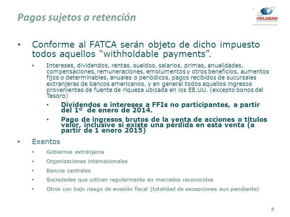 Pagos sujetos a retención Conforme al FATCA serán objeto de dicho impuesto todos aquellos withholdable payments. Intereses, dividendos, rentas, sueldo
