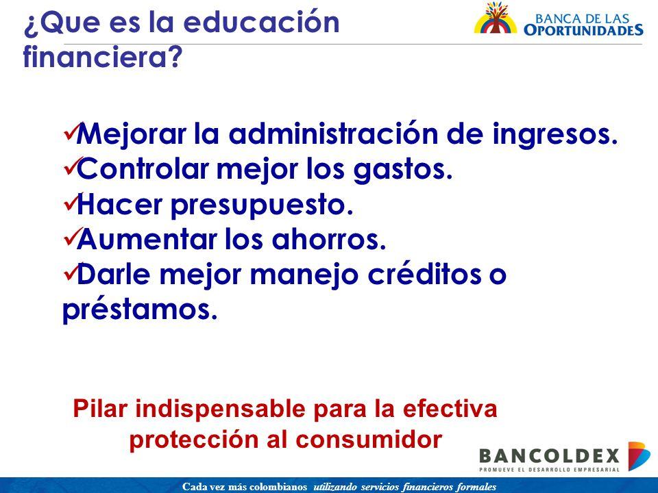Una política para promover el acceso a servicios financieros buscando equidad social Cada vez más colombianos utilizando servicios financieros formales Mejorar la administración de ingresos.