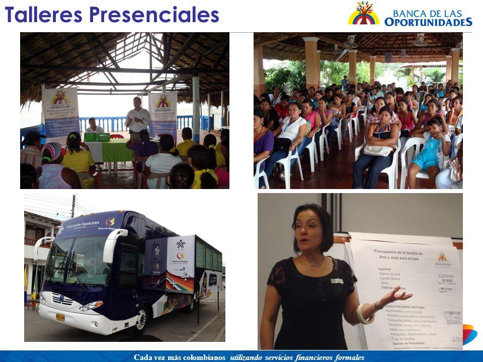 Una política para promover el acceso a servicios financieros buscando equidad social Cada vez más colombianos utilizando servicios financieros formales Talleres Presenciales