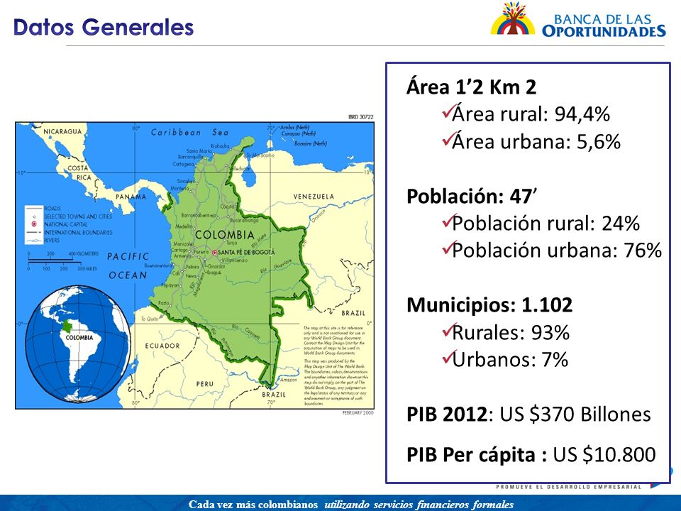 Una política para promover el acceso a servicios financieros buscando equidad social Cada vez más colombianos utilizando servicios financieros formales Área 12 Km 2 Área rural: 94,4% Área urbana: 5,6% Población: 47 Población rural: 24% Población urbana: 76% Municipios: 1.102 Rurales: 93% Urbanos: 7% PIB 2012: US $370 Billones PIB Per cápita : US $10.800